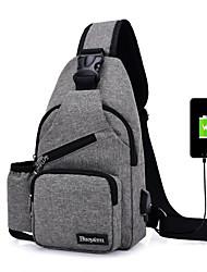 Недорогие -Муж. Мешки Полиэстер Слинг сумки на ремне Молнии Сплошной цвет Черный / Лиловый / Темно-серый