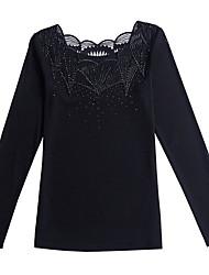 Недорогие -Жен. Кружевная отделка Блуза Классический Однотонный