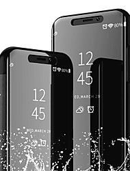 Недорогие -Кейс для Назначение Apple iPhone XS / iPhone XR со стендом / Зеркальная поверхность Чехол Однотонный Твердый Кожа PU для iPhone XS / iPhone XR / iPhone XS Max