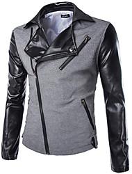abordables -Veste Homme - Bloc de Couleur Basique Col de Chemise Coton / Manches Longues