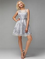 preiswerte -A-Linie Schmuck Kurz / Mini Tüll Cocktailparty Kleid mit Schleife(n) / Muster / Druck durch TS Couture®
