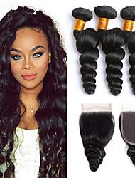 Недорогие -3 комплекта с закрытием Малазийские волосы Свободные волны 8A Натуральные волосы Подарки Головные уборы Удлинитель 8-24 дюймовый Черный Естественный цвет Ткет человеческих волос Машинное плетение 4x4