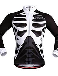billige -WOSAWE Unisex Cykeltrøje Cykel Trøje / Toppe Vindtæt, Refleksbånd Skelet Hvid / Sort Cykeltøj / Elastisk