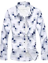 Недорогие -Муж. С принтом Рубашка Классический В клетку