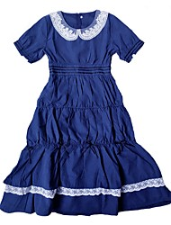 cheap -Sweet Lolita Dress Classic Lolita Dress Sweet Lolita Casual Lolita Female Dress Party Costume Masquerade Cosplay Blue Stitching Lace Bishop Sleeve Short Sleeve Long Sleeve Midi Halloween Costumes