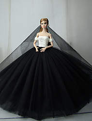 cheap -Dresses Dress For Barbie Doll Black / White Tulle / Lace / Silk / Cotton Blend Dress For Girl's Doll Toy