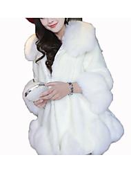 olcso -Állógallér Női Szőrmekabát - Egyszínű Műszőrme