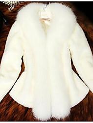 cheap -Women's Daily Basic Fall & Winter Plus Size Short Fur Coat, Solid Colored Turndown Long Sleeve Faux Fur White / Black XXL / XXXL / 4XL