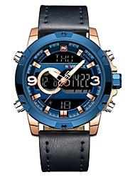 Недорогие -NAVIFORCE Муж. Спортивные часы электронные часы Японский Японский кварц 30 m Защита от влаги Календарь С двумя часовыми поясами PU Группа Аналого-цифровые На каждый день Мода Черный / Синий -