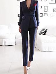 abordables -Femme Sortie Basique Normal costumes, Couleur Pleine Col de Chemise Manches Longues Polyester Marine M / L / XL