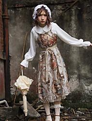 baratos -Lolita Clássica e Tradicional Vintage Chifon Feminino Saia de Saltador Cosplay Amarelo Sem Manga Midi Trajes da Noite das Bruxas