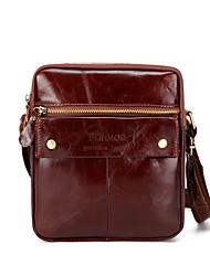 Недорогие -мужские сумки наппа кожаный мешок плеча молния коричневый / кофе