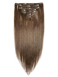 billiga -Vinsteen Klämma in Människohår förlängningar Rak Brun Obehandlad hår Remy-hår Brasilianskt hår 1 st. Bästa kvalitet 100% Jungfru Dam - Mellanbrun