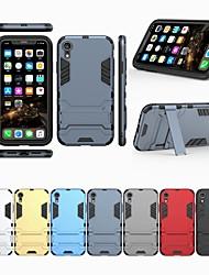 Недорогие -Кейс для Назначение Apple iPhone XS / iPhone XR со стендом Кейс на заднюю панель Однотонный Твердый ПК для iPhone XS / iPhone XR / iPhone XS Max