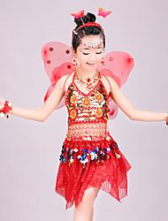 ราคาถูก -ชุดเต้นระบำหน้าท้อง Outfits เด็กผู้หญิง Performance สแปนเด็กซ์ แบนเอด / ชั้น / ปักเลื่อม เสื้อไม่มีแขน ปรับตัวลดลง กระโปรง / Top