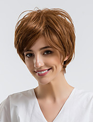cheap -Human Hair Capless Wigs Human Hair Straight Pixie Cut Natural Hairline Brown Capless Wig Women's Daily Wear