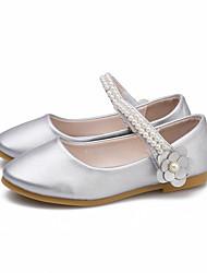 abordables -Fille Chaussures Polyuréthane Printemps & Automne Chaussures de Demoiselle d'Honneur Fille Ballerines Perle / Fleur / Scotch Magique pour Enfants Argent / Rose / Soirée & Evénement