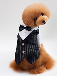 cheap -Dogs / Cats Tuxedo Dog Clothes Striped Blue / Black Cotton Costume For Pets Unisex Party / Evening / Wedding