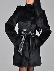 Недорогие -Жен. Пальто с мехом Уличный стиль / Изысканный - Однотонный Плиссировка