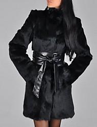 billiga -Dam Dagligen / Utekväll Streetchic / Sofistikerat Vinter Plusstorlekar Normal Fur Coat, Enfärgad Rund hals Långärmad Fuskpäls Plisserad Svart XL / XXL / XXXL