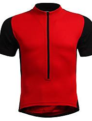 abordables -Homme Femme Manches Courtes Maillot de Cyclisme - Rouge Bleu Noir / Orange. Couleur unie Grandes Tailles Cyclisme Maillot, Respirable Nylon Élastique / Elastique