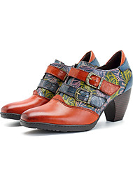 Недорогие -Жен. Комфортная обувь Наппа Leather Весна Винтаж Обувь на каблуках На толстом каблуке Пряжки Коричневый