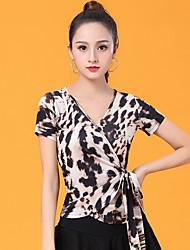 ราคาถูก -ชุดเต้นรำโมเดิร์น เสื้อ สำหรับผู้หญิง Performance น้ำแข็งไหม กระโปรงระบาย แขนสั้น Top