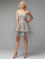 baratos -Linha A Decote Princesa Curto / Mini Renda / Tule Vestido com Renda / Faixa / Fita de TS Couture®