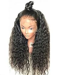 billige -Jomfruhår Blonde Front Paryk Brasiliansk hår Krøllet Paryk Frisure i lag 130% Med Baby Hair / Natural Hairline / Til sorte kvinder Sort Dame Lang Blondeparykker af menneskehår