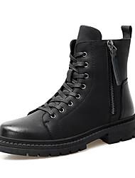 Недорогие -Муж. Кожаные ботинки Кожа Наступила зима Винтаж / На каждый день Ботинки Нескользкий Сапоги до середины икры Черный