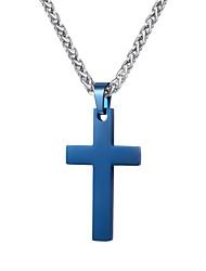 Herr Trendig Hänge Halsband - Rostfritt stål Kors Mode Blå 825e321b51c69