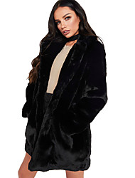 cheap -Women's Street chic Fur Coat - Solid Colored, Oversized