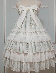 baratos -Casual Lolita Dress Doce Vestido plissado Feminino Saia de Saltador Cosplay Verde Cordão Bordado Sem Mangas Sem Manga Midi Trajes da Noite das Bruxas