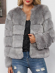 baratos -casaco de peles artificiais feminino - cor sólida