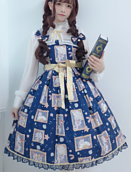 cheap -Sweet Lolita Dress Vintage Elegant Female Dress Cosplay Ink Blue Sleeveless Sleeveless Midi Halloween Costumes