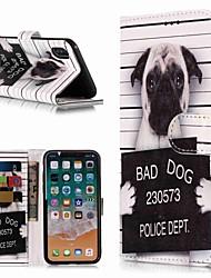 Недорогие -Кейс для Назначение Apple iPhone XS / iPhone XR / iPhone XS Max Кошелек / Бумажник для карт / со стендом Чехол С собакой Твердый Кожа PU
