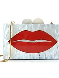 abordables -Femme Sacs Acrylique / Alliage Sac de soirée Appliques / Boutons Couleur unie Blanc