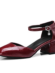 Недорогие -Жен. Балетки Полиуретан Осень Обувь на каблуках На толстом каблуке Квадратный носок Винный / Миндальный / Для вечеринки / ужина