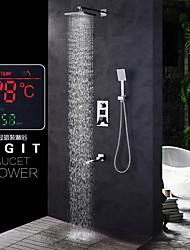 cheap -Shower Faucet - Contemporary Chrome Wall Mounted Ceramic Valve Bath Shower Mixer Taps