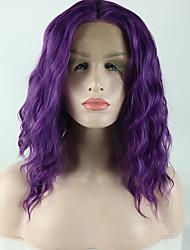 voordelige -Pruik Lace Front Synthetisch Haar Los golvend / Losse krul Paars Middelste stuk Paars 180% Human Hair Density Synthetisch haar 14 inch(es) Dames Glad / Verstelbaar / Hittebestendig Paars Pruik Kort