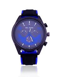baratos -Homens Relógio Militar Relógio de Pulso Quartzo Novo Design Relógio Casual Mostrador Grande Silicone Banda Analógico Casual Azul / Vermelho / Laranja - Amarelo Vermelho Azul Um ano Ciclo de Vida da