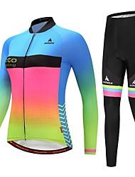 billiga Sport och friluftsliv-kvinnors cykeltröja med tights / cykeljacka med byxor - blå + gul / lysande cykelreflekterande remsor