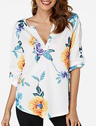 Недорогие -женская хлопчатобумажная рубашка - цветочная v шея