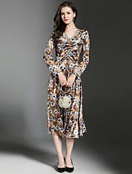 billige -Dame Elegant A-linje Kjole - Blomstret, Krøllede Folder Midi
