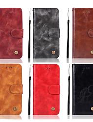 billiga -fodral Till Huawei Huawei Honor 8X / Honor 10 Plånbok / Korthållare / med stativ Fodral Enfärgad Hårt PU läder för Huawei Honor 10 / Honor 9 / Huawei Honor 9 Lite