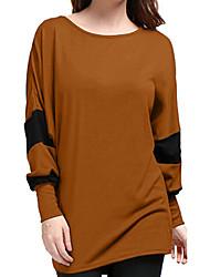 billige -Kvinders Plus Size T-Shirt - Farveblok rundt om halsen