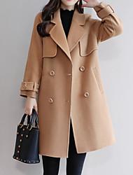 お買い得  -女性のコート - ソリッドカラーのシャツの襟