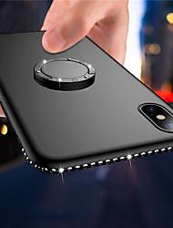 Недорогие -Кейс для Назначение Apple iPhone X / iPhone 8 Pluss / iPhone 8 Кольца-держатели / Ультратонкий / Матовое Кейс на заднюю панель Сияние и блеск / Стразы Мягкий ТПУ