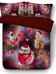 Недорогие -Пододеяльник наборы Рождество Полиэфир / полиамид Активный краситель 3 предметаBedding Sets / 3 шт. (1 пододеяльник, 2 наволочки)