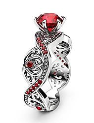abordables -Bague / Anneaux Femme Zircon cubique Rouge Crossover Cuivre Platiné Imitation Diamant Cœur Infini dames Branché Romantique Mode Bijoux Argent Cool pour Soirée Anniversaire 1pc